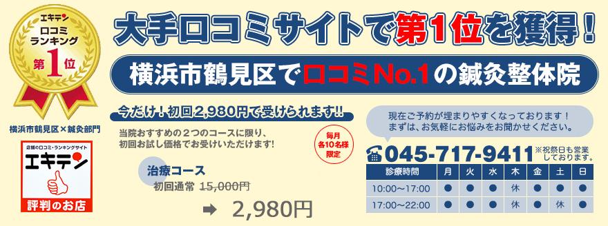 横浜市鶴見区|腰痛、五十肩、婦人科疾患専門の整体院|鶴見駅徒歩3分