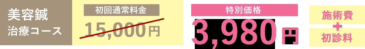 美容鍼 治療コース「初回通常価格15,000円」が特別価格「3,980円」(施術費+初診料)