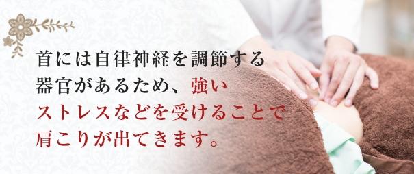 首には自律神経を調節する器官があるため、強いストレスなどを受けることで肩こりが出てきます。